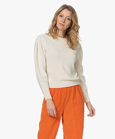 ba&sh Sand Cashmere Blend Puff Sleeve Sweater - Off-white