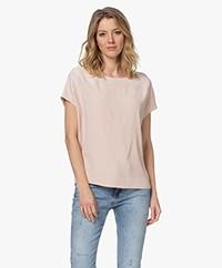 LaSalle Crepe Satin Short Sleeve Blouse - Blush