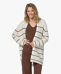 no man's land Striped Open Mohair Blend Cardigan - Off-white/Brown