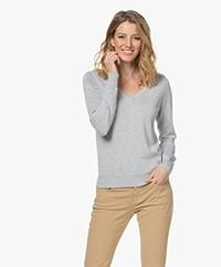 Repeat Organic Cotton Blend V-neck Sweater - Soft Grey