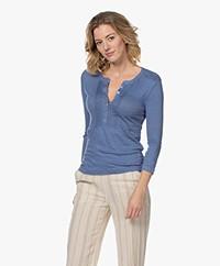 Belluna Fine Linnen T-shirt met Driekwart Mouwen - Jeans