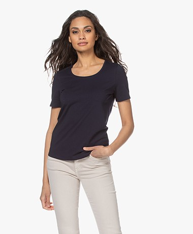 Repeat Cotton Basic Round Neck T-shirt - Navy