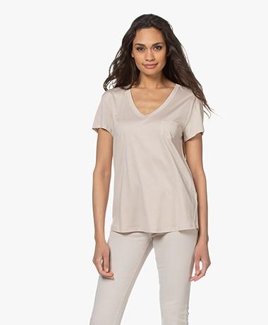 Repeat Lyocell Blend V-neck T-shirt - Beige