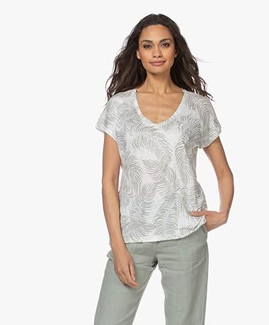 no man's land Linen V-neck Printed T-shirt - Sage