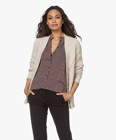 Repeat Chunky Knit Cotton Blend Buttoned Cardigan - Ivory
