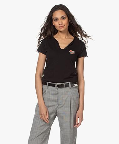 Zadig & Voltaire Tunisien Heart Henley T-shirt - Zwart