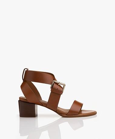 Vanessa Bruno Leather Sandals with Heel - Cognac