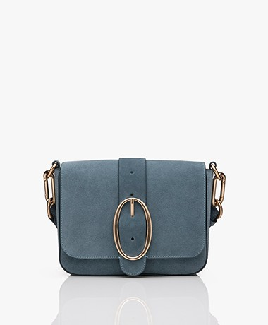 Vanessa Bruno Iris Suede Shoulder Bag - Greyish Blue