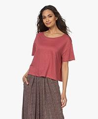 Majestic Filatures Cropped Linen Blend T-shirt - Blush