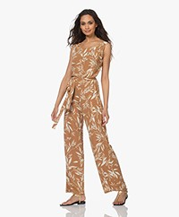 no man's land Viscose Jersey Printed Jumpsuit - Core Black/Off - Toffee