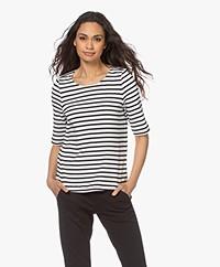 no man's land Gestreept Katoenen T-shirt - Off-white/Zwart