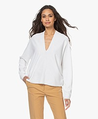 Drykorn Simony Fine Knit V-neck Sweater - White