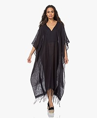 SU Paris Jimba Striped V-neck Kaftan - Black