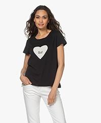 Zadig & Voltaire Alys Heart Oui Print T-shirt - Zwart