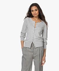 Plein Publique L'Essence Cotton Blend Cardigan - Silver Grey