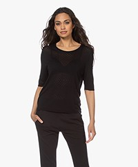 Sibin/Linnebjerg Lily Pointelle Sweater with Half-length Sleeves - Black