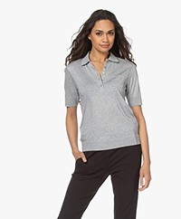 Repeat Fine Knit Lyocell Blend Polo - Grey Melange