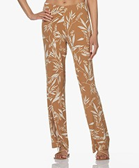 no man's land Viscose Jersey Print Broek - Toffee