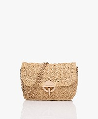 Vanessa Bruno Moon Raffia Schoudertas - Naturel