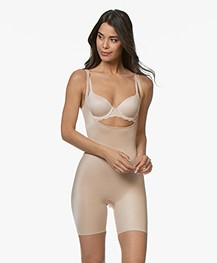 SPANX® Conceal-Her! Open-Bust Mid-Thigh Bodysuit - Natural Glam