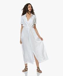 Repeat Tencel Maxi Shirt Dress - White
