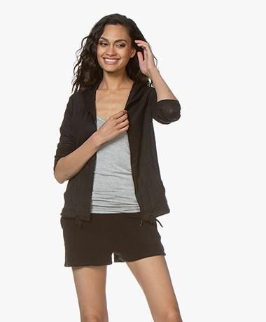 Majestic Filatures Linen Jersey Hooded Cardigan - Black