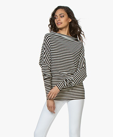Norma Kamali Travel Jersey All In One Mini Long Sleeve - Black/Off-white