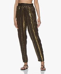 IRO Truelove Striped Silk Blend Chiffon Pants - Black/Gold