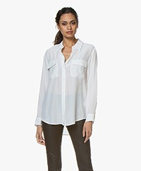 Equipment Signature Washed-silk Blouse - Bright White