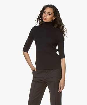 Filippa K Flat Rib Roller-Neck Sweater - Navy