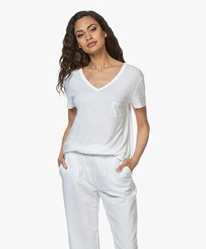 Repeat Linen Blend V-neck T-shirt - White