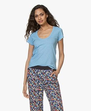 Rag & Bone Pima Katoenen U-hals T-shirt - Spring Blue