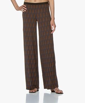 SIYU Cappa Loose-fit Tech Jersey Print Pants - Dark Blue/Brown