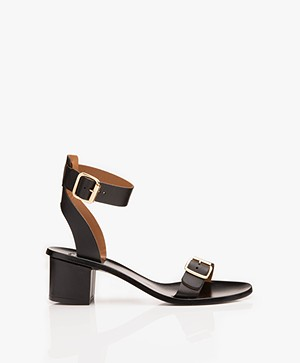 ATP Atelier Carmen Vacchetta Leather Heeled Sandals - Black