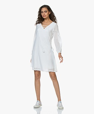 BRAEZ Voile Dress with Lace Closure - White
