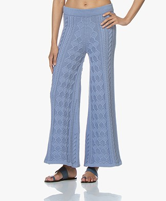 I Love Mr Mittens Cable Knitted Flared Pants - Denim