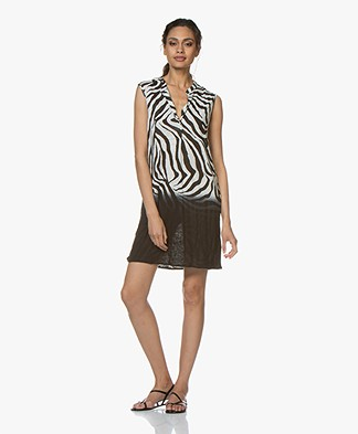 Majestic Filatures Sleeveless Tunic Dress with Zebra Print - Black