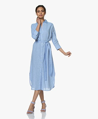 no man's land Striped Midi Shirt Dress in Linen Blend - Azure