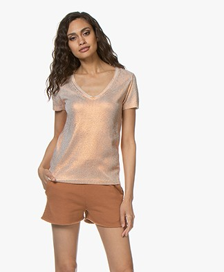 Majestic Filatures Silk Pullover with Metallic Coating - Copper