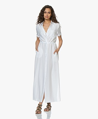Repeat Tencel Maxi Blousejurk - Wit