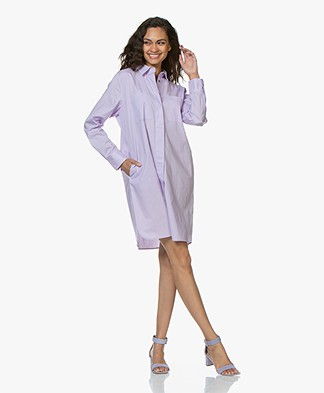 Repeat Cotton Poplin Shirt Dress - Lilac