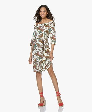 no man's land Off-Shoulder Jersey Print Dress - Ivory