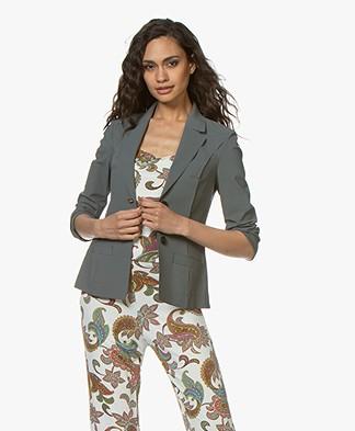 Woman By Earn Juul Bonded Tech Jersey Blazer - Greyish Green