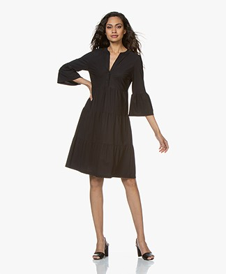 no man's land Travel Jersey Ruffle Dress - Blue Black
