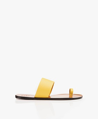 ATP Atelier Astrid Leather Toe Slipper Sandals - Canary Yellow
