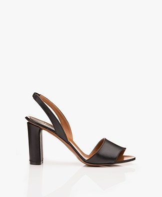 ATP Atelier Soia Vacchetta Leather Heeled Sandals - Black