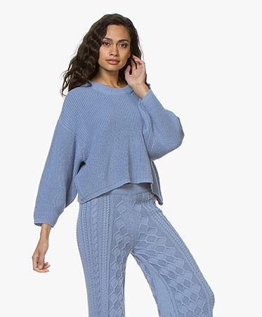 I Love Mr Mittens Cropped Crew Neck Rib Sweater - Denim