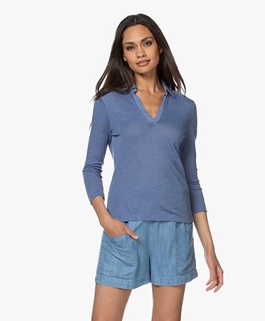 Belluna Surfer Linnen T-shirt met Kraag - Jeans