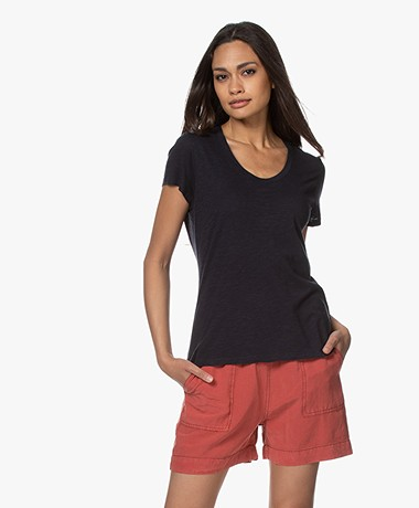 American Vintage Jacksonville Ronde Hals T-shirt - Navy