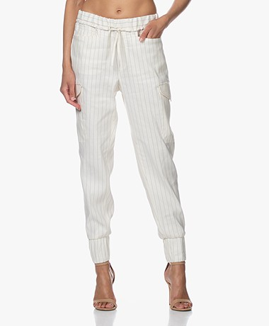 Closed Jade Gestreepte Twill Utility Broek - Off-white